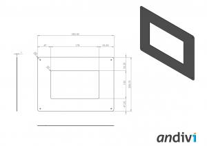 Ohisje za zaslon na dotik_touchscreen_Namestitev na elektro omaro_dimenzije