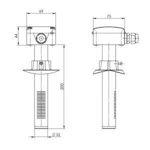 Modbus tehnicna slika za kanalsko tipalo kvalitete zraka - ANDKALQ-MD