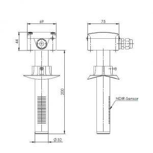 Modbus kanalsko tipalo za merjenje ogljikovega dioksida ANDKACO2-MD