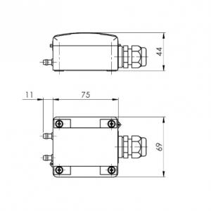 Tehnicna slika za merilni pretvornik diferencialnega tlaka z navojem M12 - ANDDDM2