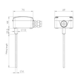 Pasivni potopni kanalski temperaturni senzor ANDKNTF - 2