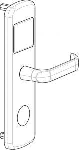 RFID elektronska kljucavnica za hotel - tehnicna skica 1 - front - desna