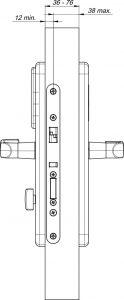 RFID elektronska kljucavnica za hotel - tehnicna skica 1 - front - stranski pogled