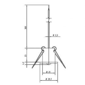 Modbus tehnicna slika za temperaturno tipalo za vgradnjo v strop ANDDEBF-MD