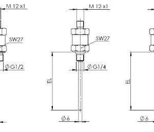 Tehnicna skica temperaturnega senzorja z navojem M12 ANDHTFM-MU