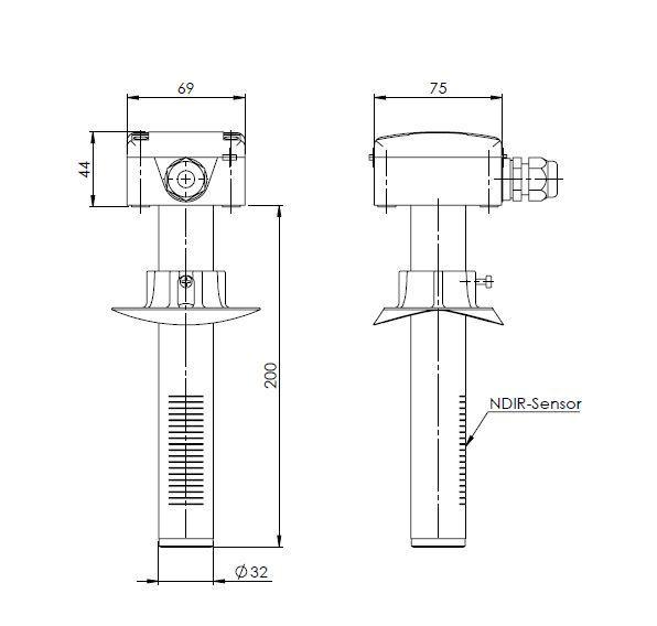 Kanalski senzor za CO2 ANDKACO2 tehnična risba