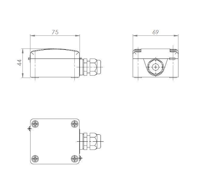 Modbus kabelski temperaturni senzor ANDKBTFMD tehnična risba