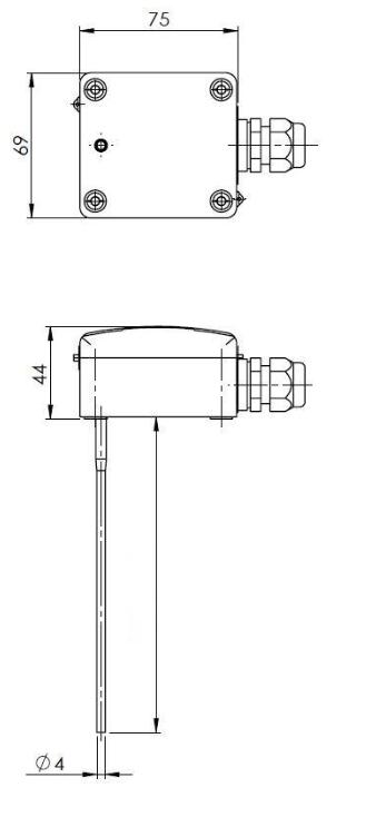 Modbus kanalski senzor temperature za merjenje srednje vrednosti ANDMWTFMD tehnična risba