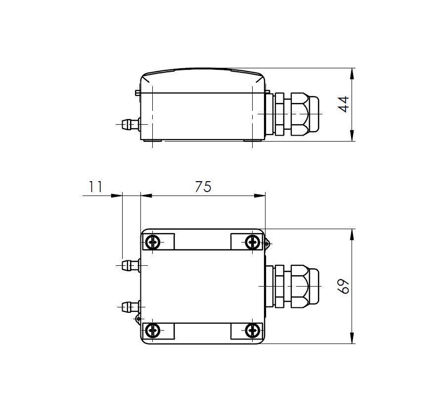 Modbus merilni pretvornik diferencialnega tlaka ANDDDMMD tehnična risba