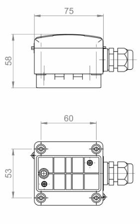 Modbus naležni senzor temperature v ohišju ANDANTF1MD tehnična risba