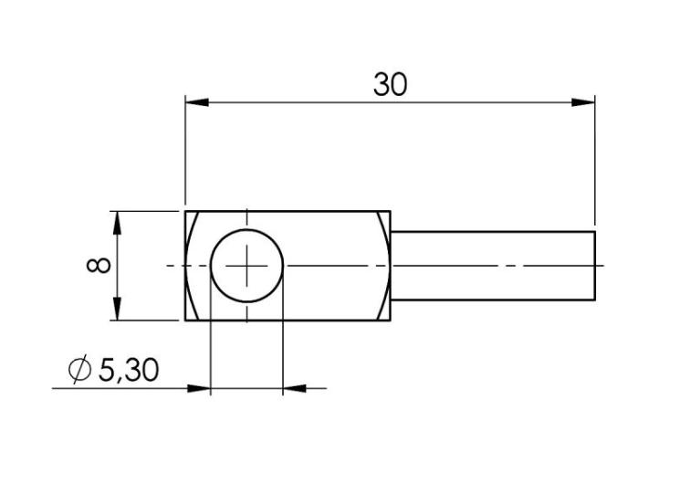 Modbus naležni temperatuni senzor za ravne površine ANDOBTFMD tehnična risba sonde
