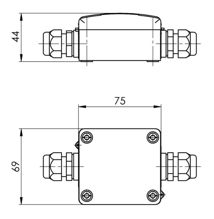Modbus naležni temperatuni senzor za ravne površine ANDOBTFMD tehnična risba