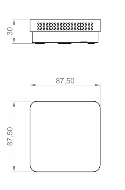 Modbus notranji senzor za kvaliteto zraka ANDRALQMD tehnična risba