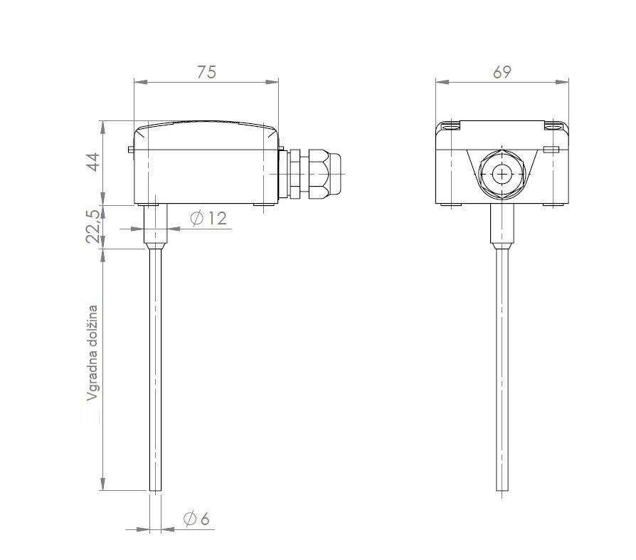 Modbus potopni kanalski temperaturni senzor ANDKNTFMD tehnična risba