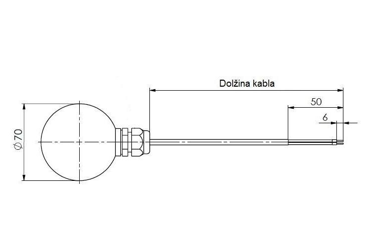 Modbus senzor sevanja temperature ANDSTFMD tehnična risba sonde