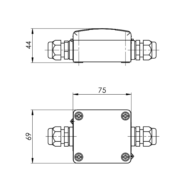 Modbus senzor temperature z navojem G1/2″ ANDESFMD tehnična risba