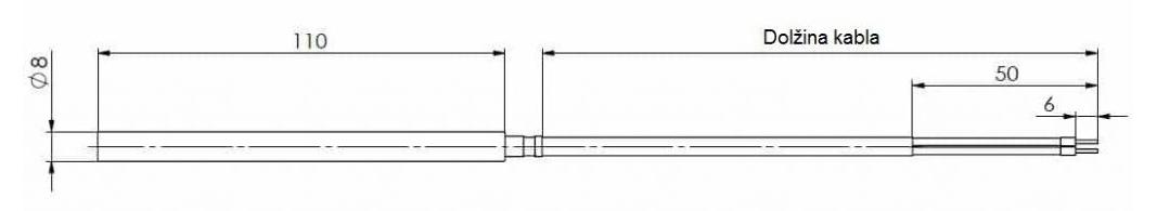Modbus viseči notranji temperaturni senzor ANDRPFMD tehnična risba