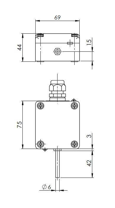 Modbus zunanji senzor temperature z zunanjo sondo ANDAUTFEXTMD tehnična risba