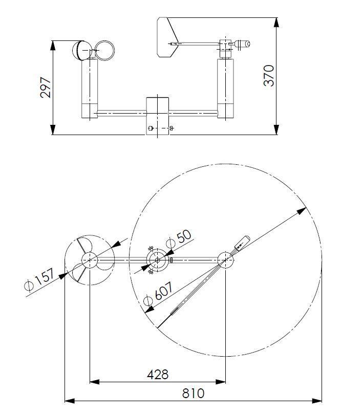 Senzor hitrosti in smeri vetra ANDWM3 tehnična risba