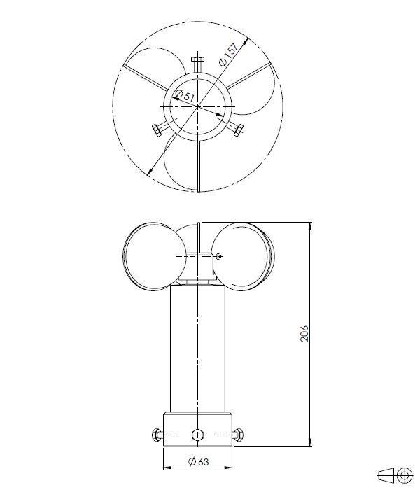 Senzor hitrosti vetra ANDWM1 tehnična risba