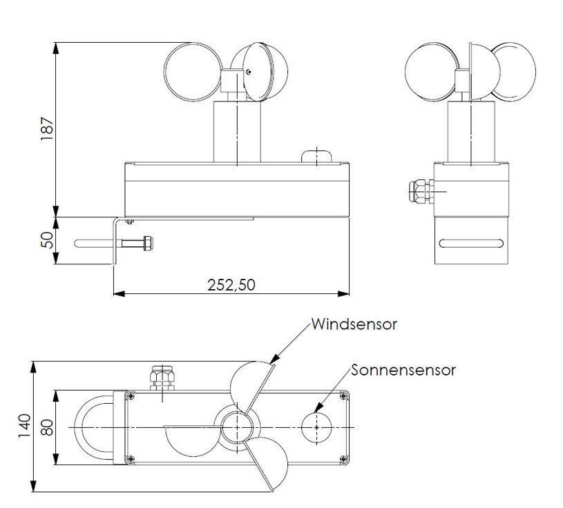 Vremenska postaja ANDWST5 (hitrost vetra, padavine, 3x osvetljenost, temperatura) tehnična risba