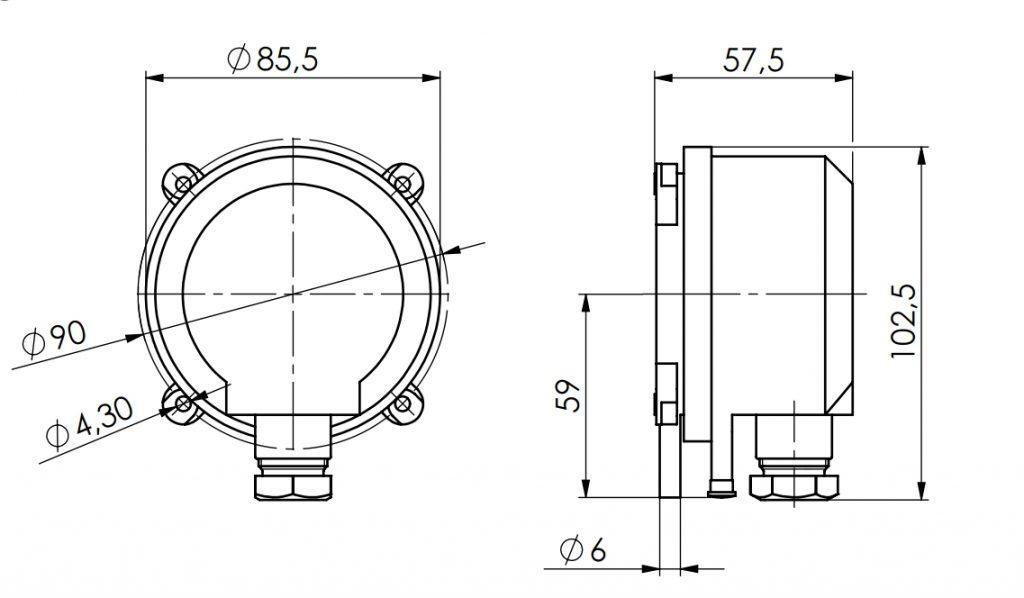 Javljalnik diferencialnega tlaka ANDDDW tehnična risba