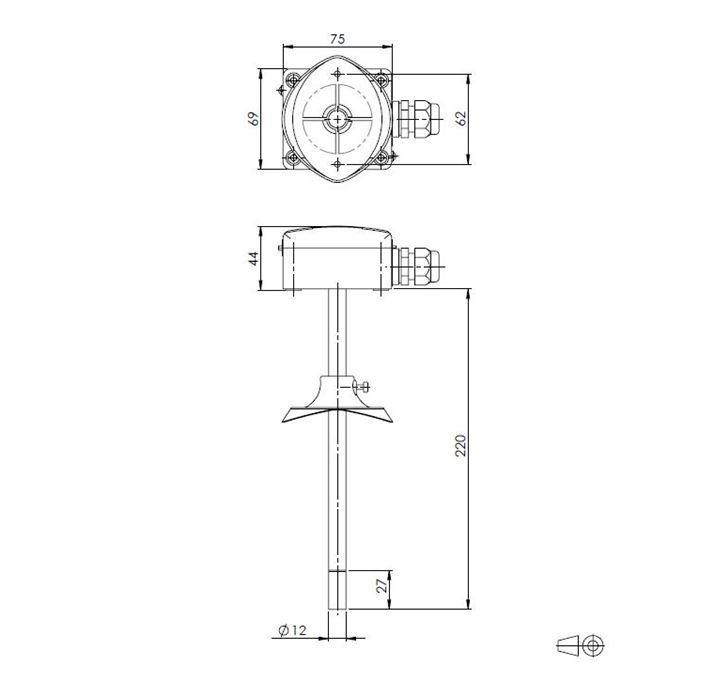 Kanalski senzor temperature in vlage ANDKFFTR-XS tehnična risba