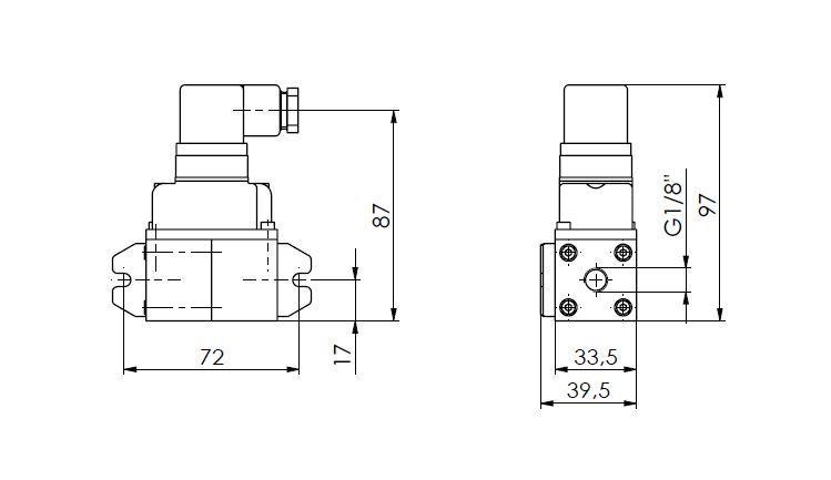 Merilni pretvornik diferencialnega tlaka ANDFDE40 tehnična risba
