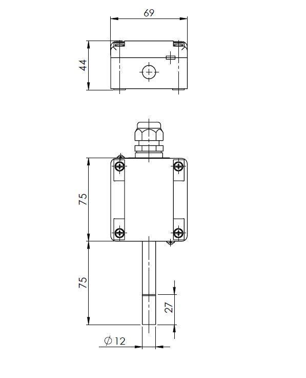 Zunanji senzor za temperaturo in vlago ANDARFTR-XS tehnična risba