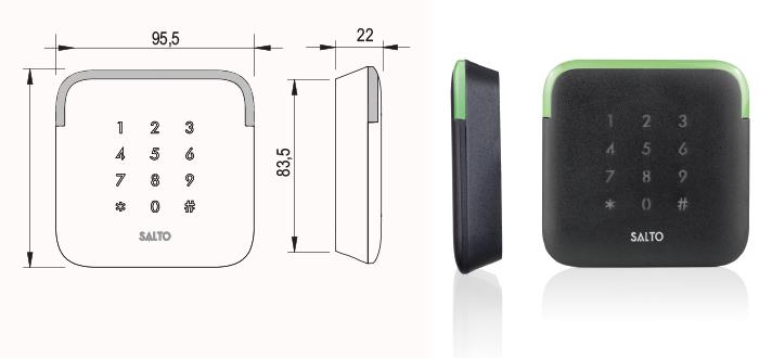 stenski bralnik xs4 s pin tipkovnico tehnična skica